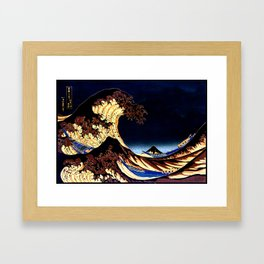 The GREAT Wave Midnight Blue Brown Framed Art Print