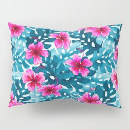 Tropical Hibiscus Pattern Pink Pillow Sham