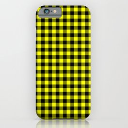 Classic Yellow Country Cottage Summer Buffalo Plaid iPhone Case