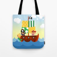 pirate ship Tote Bags featuring pirate ship by Alapapaju