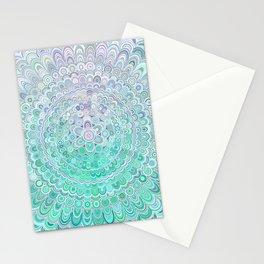 Turquoise Ice Flower Mandala Stationery Cards