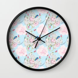 Shabby Chic Bluebirds and Watercolor Roses on pale blue Wall Clock