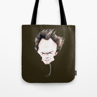 clint eastwood Tote Bags featuring Clint Eastwood by Diego Abelenda