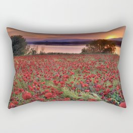 """Sea of poppies"". Sunset at the lake Rectangular Pillow"