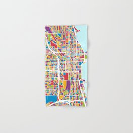 Chicago City Street Map Hand & Bath Towel