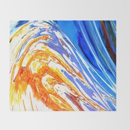 Riding the Wave of Orange Emotion; Fluid Abstract 53 Throw Blanket