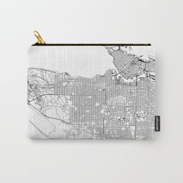 Vancouver White Map Carry-All Pouch