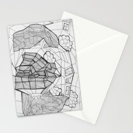 Adult Coloringbook Template House Stationery Cards