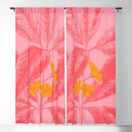 Modern Botanical Leaves in Pink Blackout Curtain