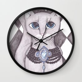 Diamond Kitty Cat art Wall Clock