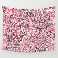 burgundy Wall Tapestries featuring Burgundy red and white swirls doodles by Savousepate