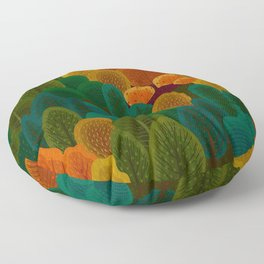 Stylized Autumn color trees pattern Floor Pillow