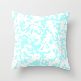 Spots - White and Celeste Cyan Throw Pillow