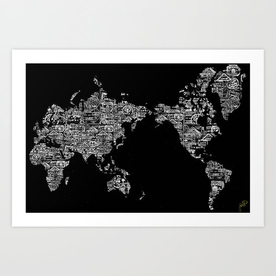 Passport Stamp Map Special Edition, Black and White Art Print