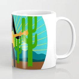 Mexican Mariachi in Desert Circle Retro Coffee Mug