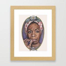 Watercolor Painting of Nina Simone Framed Art Print
