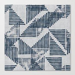 Stripe Triangle Geometric Block Print Pattern in Blue Grey Canvas Print