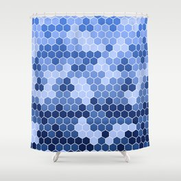 Honeycomb Blue Pattern   Geometric Shapes   Home Decor   Sapphire   For Him   For Her Shower Curtain