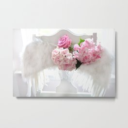 Shabby Chic Angel Wings Pink Hydrangeas Roses Metal Print