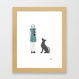 Photographer girl and dog Framed Art Print