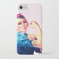 sayings iPhone & iPod Cases featuring Fight Like A Girl Rosie The Riveter Girly Mod Pink by Girly Road