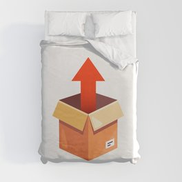 Take Parcel Up From Cardboard Box Flat Illustration Isolated Duvet Cover