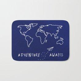 Adventure Map - Navy Blue Bath Mat
