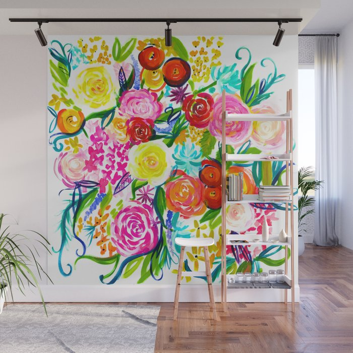 bright colorful floral painting wall mural by melissapolomsky society6