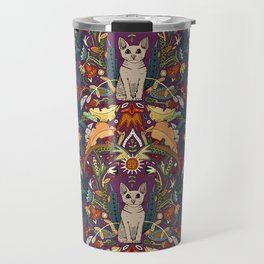 Peterbald cat damask purple Travel Mug