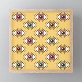 EYES WIDE OPEN - BUTTER YELLOW Framed Mini Art Print