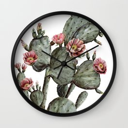 Prickly Pear Cactus Painting Wall Clock