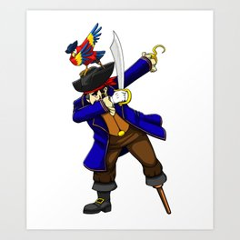Pirate Dab with Parrot Viking Novelty Halloween Art Print