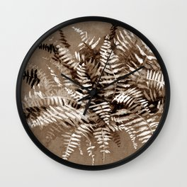 Fern, floral art, brown scale, monochrome Wall Clock