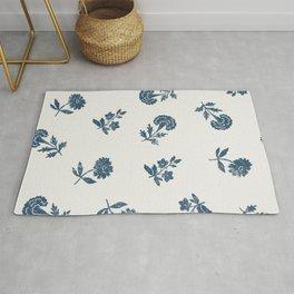 Lino print blue floral Rug