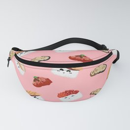 Pink Cute Cartoon Sushi Background Fanny Pack