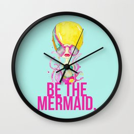 golden.  a happy mermaid Wall Clock
