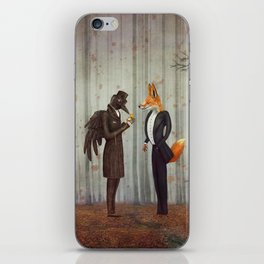Raven and Fox in  a dark forest looking at the watch iPhone Skin