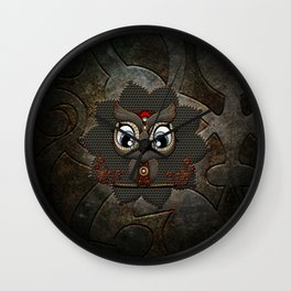 Cute little steampunk owl with floral elements Wall Clock