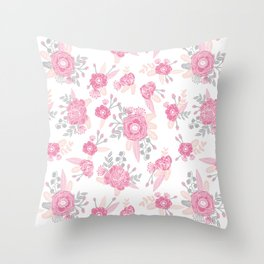 Pink pastel florals cute nursery baby girl decor floral botanical bouquet blooms Throw Pillow