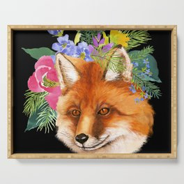 Red Fox with Flowers Serving Tray