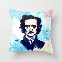 poe Throw Pillows featuring POE by Jon Cain