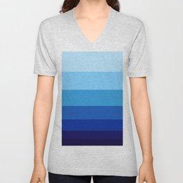 Colorful Blue Gradient Geometric Pattern Colour Block Stripes Unisex V-Neck