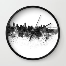 Montreal skyline in black watercolor Wall Clock