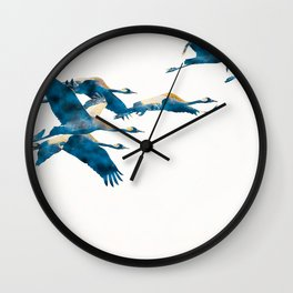 Beautiful Cranes in white background Wall Clock