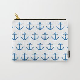 Blue Glitter Ancchor Pattern Carry-All Pouch