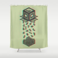 tetris Shower Curtains featuring Tetris by Delaney Digital