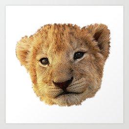 baby lion face canvas, animals, big cat Art Print