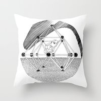 ohm Throw Pillows featuring Ohm. by Samuel Guerrero