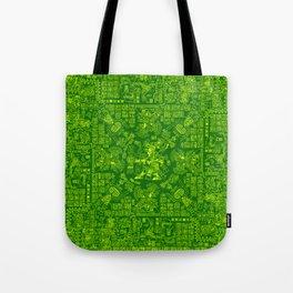 Mayan Spring GREEN / Ancient Mayan hieroglyphics mandala pattern Tote Bag