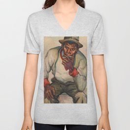 African American Watercolor Masterpiece 'Chromatic Tunes' by Dox Thrash Unisex V-Neck